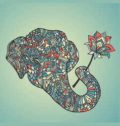 Portrait of an elephant with a lotus flower in vector