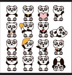 set of cute pandas happy vector image