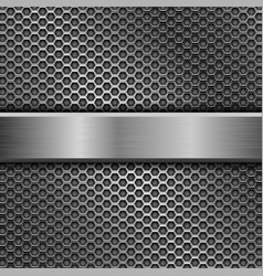steel long plate on perforated background vector image vector image