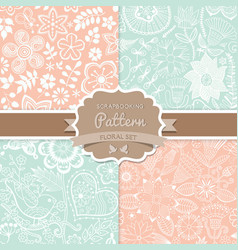 4 seamless patterns Shabby chic Floral patterns vector
