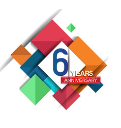 6 years anniversary design colorful square style vector