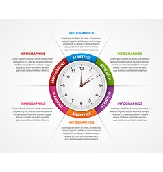 Abstract infographic with clock in centre vector