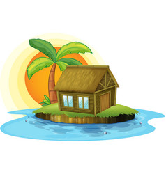 An island with a bamboo house vector image