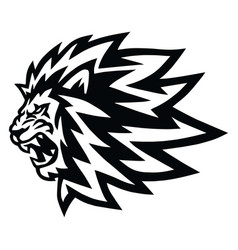 Angry lion head roaring logo mascot icon vector