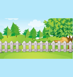 Background scene with white fences in park vector