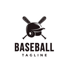 baseball logo with crossed wooden bat and helmet vector image