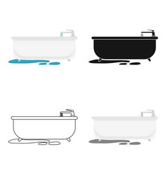 bathtub icon in cartoon style isolated on white vector image