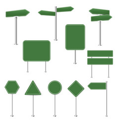Big set green stop signs and traffic sign vector