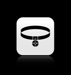 Black collar with name tag icon isolated on black vector