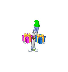 Bring two gifts blue ballpoint for notes vector