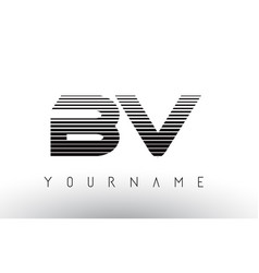 Bv b v black and white horizontal stripes letter vector