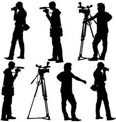 Cameraman with video camera Silhouettes on white vector image