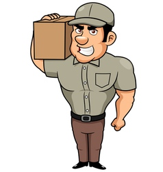 Cartoon delivery man vector image vector image