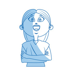 Cartoon girl long hair standing with arms folded vector