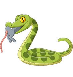 Cartoon green snake eating a mouse vector