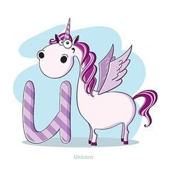 Cartoons Alphabet - Letter U with funny Unicorn vector