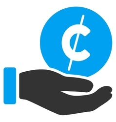 Cent Payment Hand Flat Icon vector