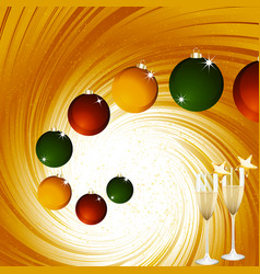 Christmas baubles and champagne on golden vortex vector