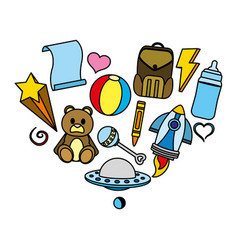 Color baby toys nice things style vector