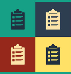color clipboard with checklist icon isolated on vector image