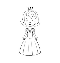 Coloring book little girl wearing princess costume vector