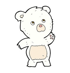 Comic cartoon curious polar bear vector