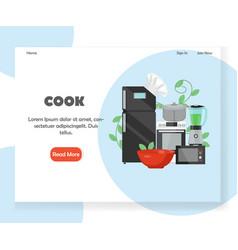 Cook website landing page design template vector