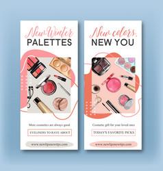 Cosmetic flyer design with eyelash curler vector