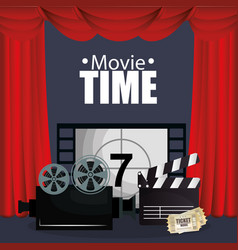 Courtain cinema with films icons vector