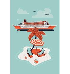 Cruise Ship and an Island vector