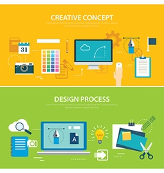 design process and creative concept banner vector image