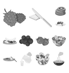 dessert fragrant monochrome icons in set vector image