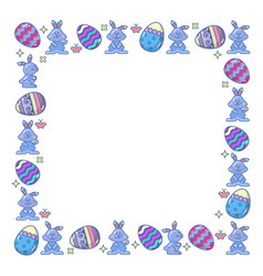 Easter eggs and bunny arranged in square vector