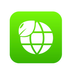 ecology earth globe icon green vector image