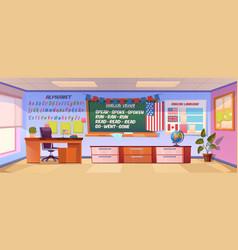 English language classroom interior empty class vector