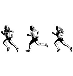 Female sprinter sketch vector