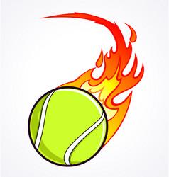 Flast flaming tennis ball vector