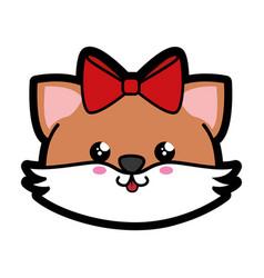 fox kawaii cartoon vector image
