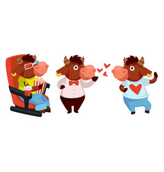 Funny bull character watching movie in cinema vector