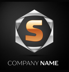 gold letter s logo symbol in the silver hexagonal vector image