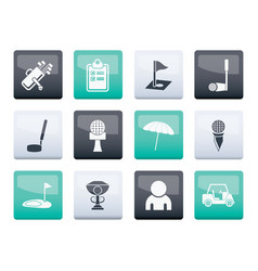 Golf and sport icons over color background vector