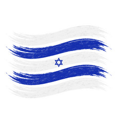 Grunge brush stroke with national flag of israel vector