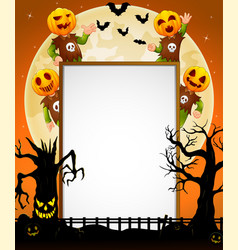 Halloween sign with kid wearing pumpkin mask vector