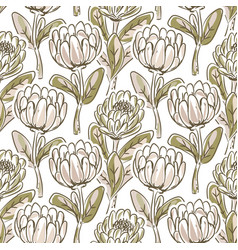 Hand drawn protea flower seamless pattern vector