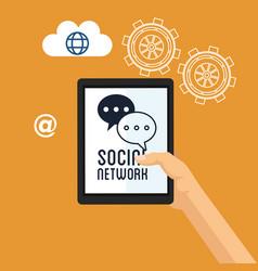 Hand hold tablet social network team gear cloud vector