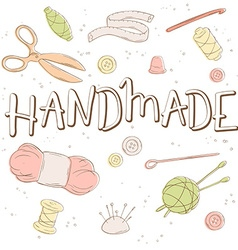 hand lettering label - handmade - with tailoring vector image