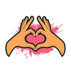 Hand making heart sign Heart shape hand vector image