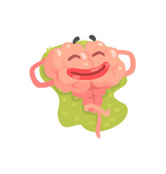 Happy humanized cartoon brain character lying and vector