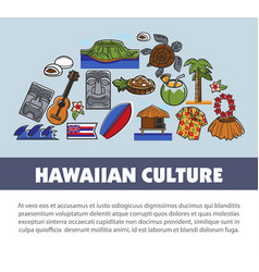 Hawaii travel symbols and tourism landmarks vector