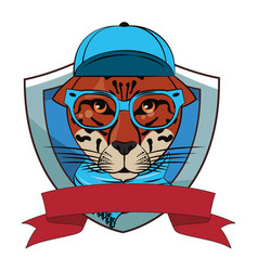 Hipster leopard cool sketch vector